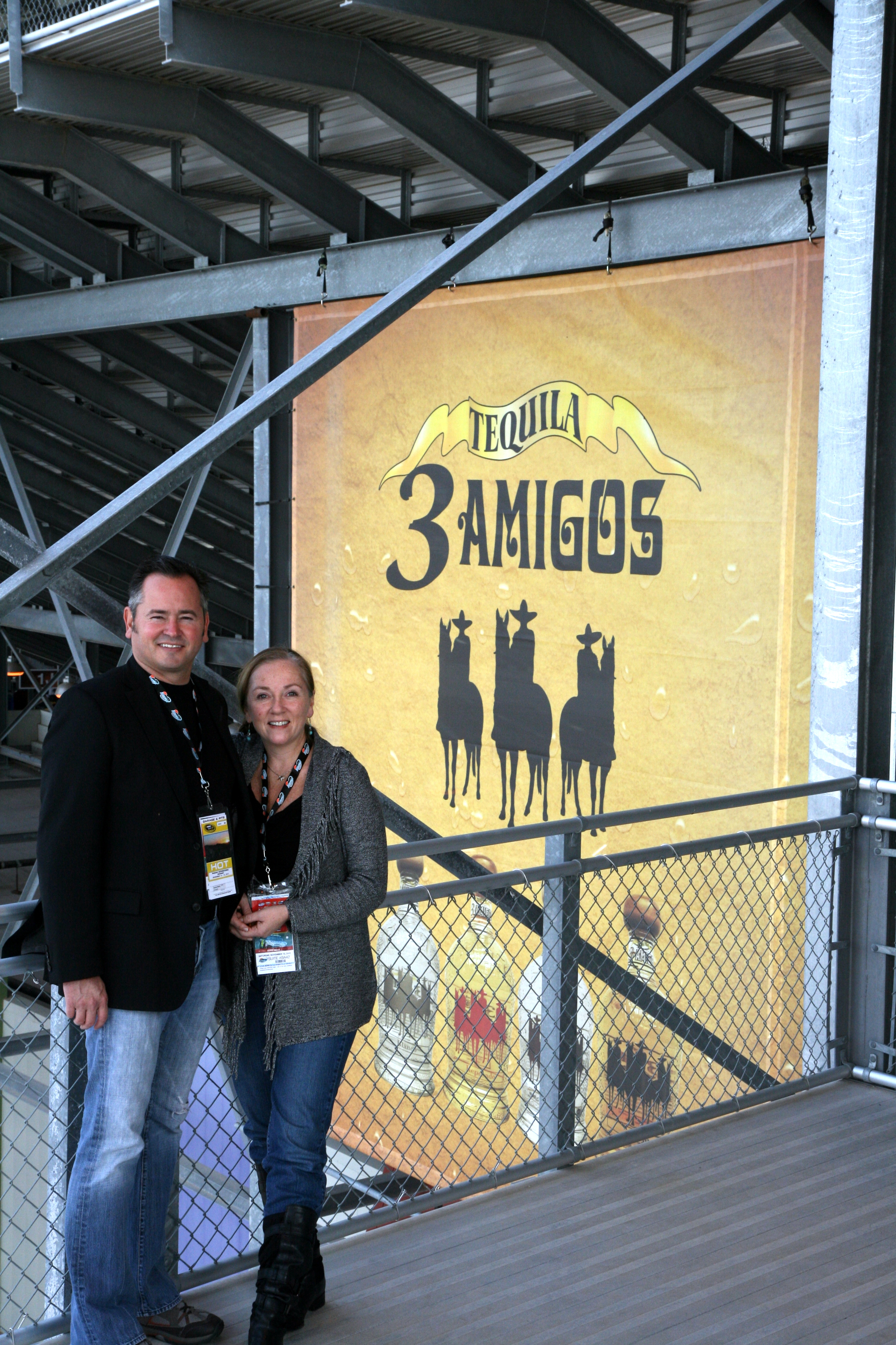 Smoke & Anitra at PIR on way to 3 Amigos stage with Stealing Angels